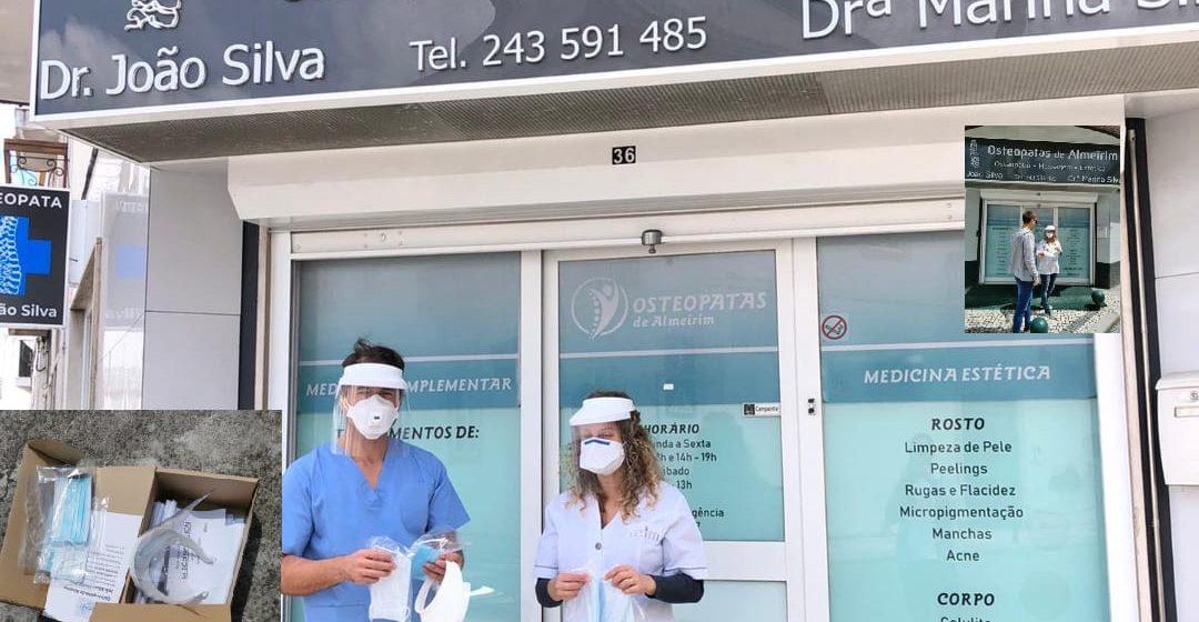 Osteopatas oferecem máscaras e viseiras
